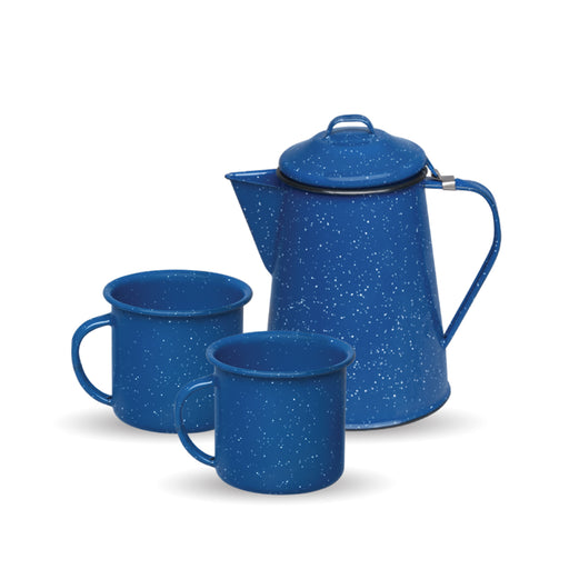CAFETERA 600ML + 2 TAZA RECTA 360ML AZUL