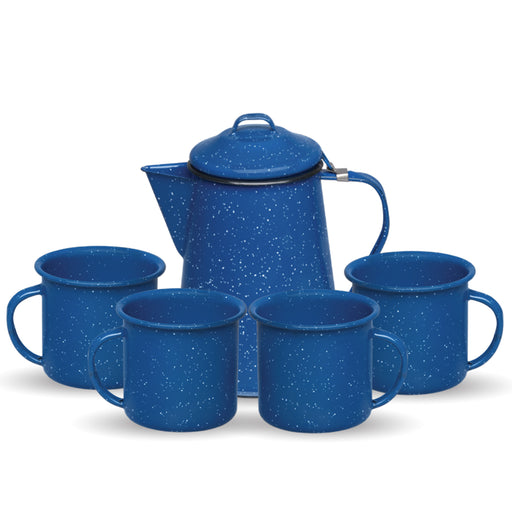 CAFETERA 600ML + 4 TAZA RECTA 360ML AZUL
