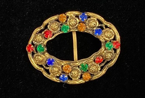 Gilded filigree and coloured stones buckle
