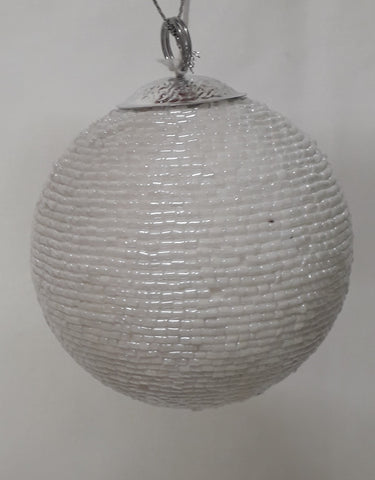 White Pearlized Bauble with a Silver Top | Christmas Tree Decoration