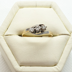 18ct Yellow, & white gold & platinum three diamond hand made estate ring.