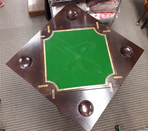 Victorian Rosewood inlaid fold-out games table