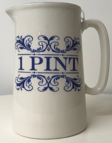 Blue & white 1-pint jug
