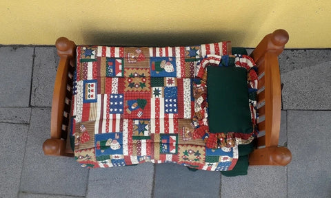 Handmade Rimu colourful dolls bed complete with mattress, quilt & pillow
