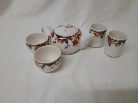 French Teapot, cups, and tumblers