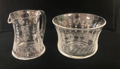 Stewart Crystal Cream Jug & Sugar Basin
