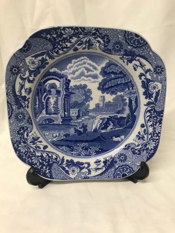 Copeland Spode Italian blue and white square luncheon plate