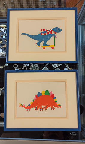 Pair of Framed Dinosaur prints, c.1988