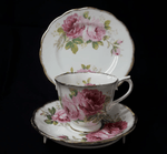 'American Beauty' pattern cup, saucer & plate