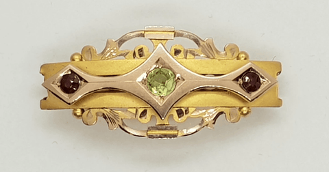 Victorian 9 Ct gold & peridot brooch