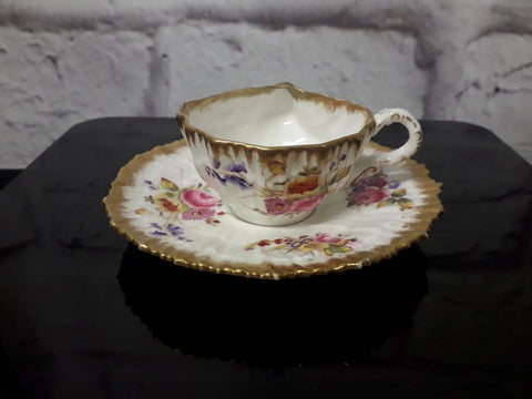 Hammersley shell-shaped cabinet cup & saucer, 'Dresden Spray'