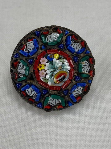 Small round colourful pin made in Italy