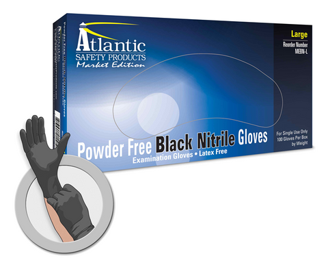 Market Edition Disposable Latex Gloves, Black, 100 ct. Box