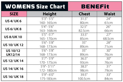 C-Skins Womens Wetsuit Size Chart