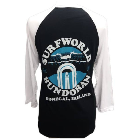 Surfworld Peak 3/4 Sleeve T-Shirt (CV3200) - BLACK/WHITE