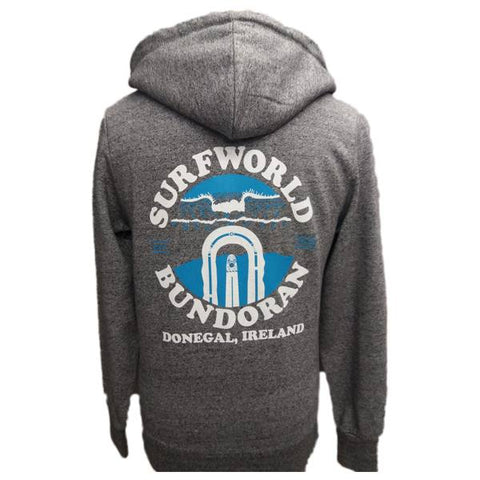 Surfworld Peak Zip Heavyweight Hoodie (JH068) - GREY WHITE