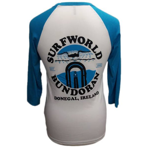 Surfworld Peak 3/4 Sleeve T-Shirt (CV3200) - WHITE/NEON BLUE