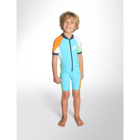 C-Skins Baby UV Shortie Sunsuit 2018 (C-LYSUNSH) - TURQUOISE/ORANGE/GREEN