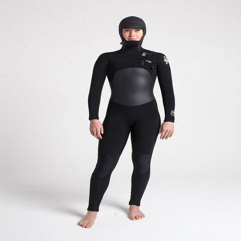 C-skins Wired Ladies 6/5mm Hooded Chest Zip Wetsuit 2018/19 - BLACK