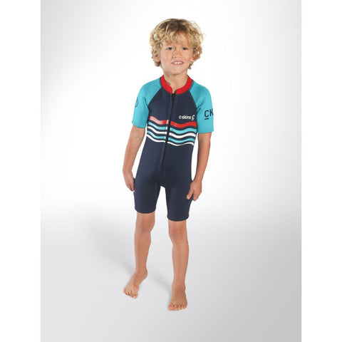 C-Skins Baby Waves Shortie Wetsuit 2018 (C-BA32SHP) - INK BLUE/TURQUOISE/RED