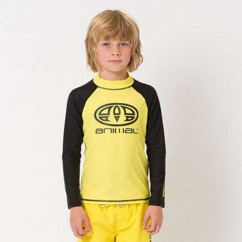 Animal Fontaine Junior Long Sleeve Rash Vest (CL9SQ612) - YELLOW/BLACK