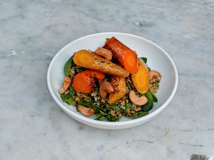 Freekeh, Miso-Roasted Carrots, Cashew Nuts & Herbs