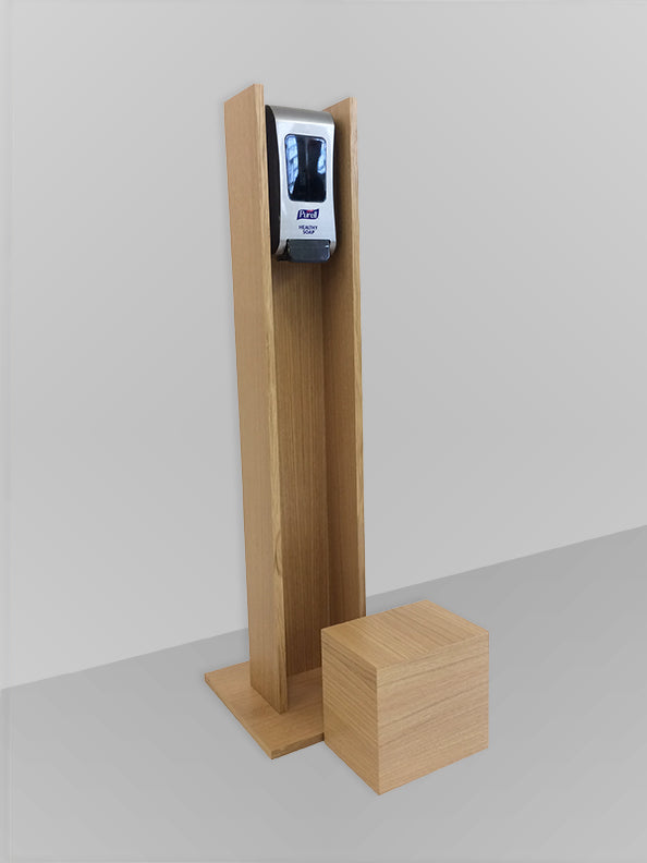 Hand Sanitizer Station Oak Veneer