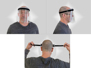 Adjustable face shield on person