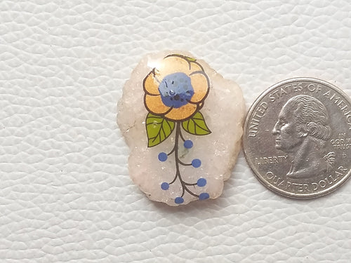 30x25x7 mm, Natural Flower Printed Laminated Stone Fancy / Free Form Shape