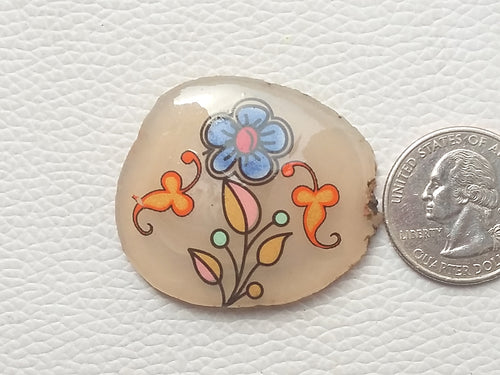 41x35x7 mm, Natural Flower Printed Laminated Stone Fancy / Free Form Shape