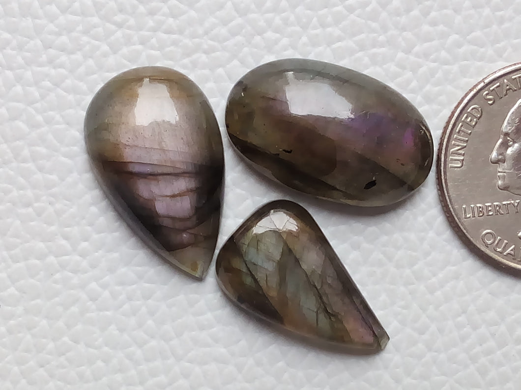 Purple Labradorite Cabochon Gemstone, Mix Shape 3 Pcs