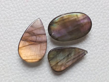 Load image into Gallery viewer, Purple Labradorite Cabochon Gemstone, Mix Shape 3 Pcs