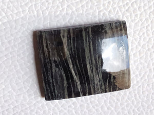 30x24mm, Natural Black Striped Jasper Baguette Shape