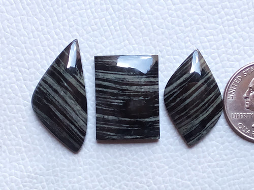 3 Pcs Bunch Natural Black Striped Jasper Mix Shape