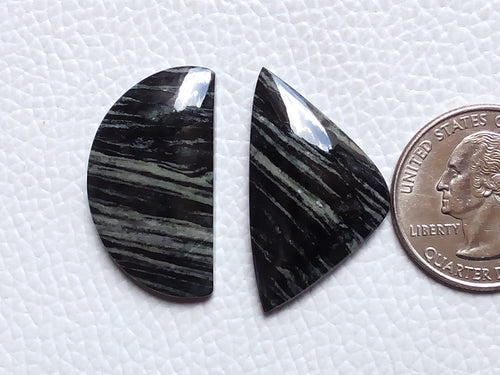 2 Pcs Natural Black Striped Jasper Mix Shape