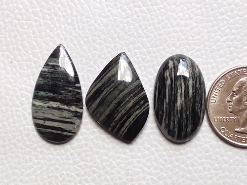 3 Pcs Natural Black Striped Jasper Mix Shape