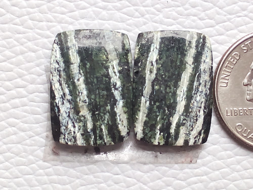 1 Pair Natural Green Swiss Opal Rectangular Shape