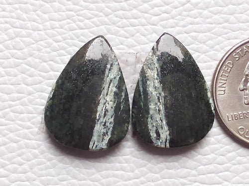 1 Pair Natural Green Swiss Opal Pear Shape