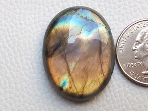 33x25x8 mm, Natural Labradorite Cabochon Gemstone Oval Shape