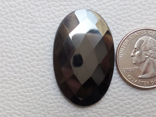 38x24x4mm Hematite Faceted Oval Shape