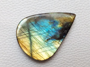 45x33x6mm, Labradorite Gemstone Faceted Cabochon Pear Shape