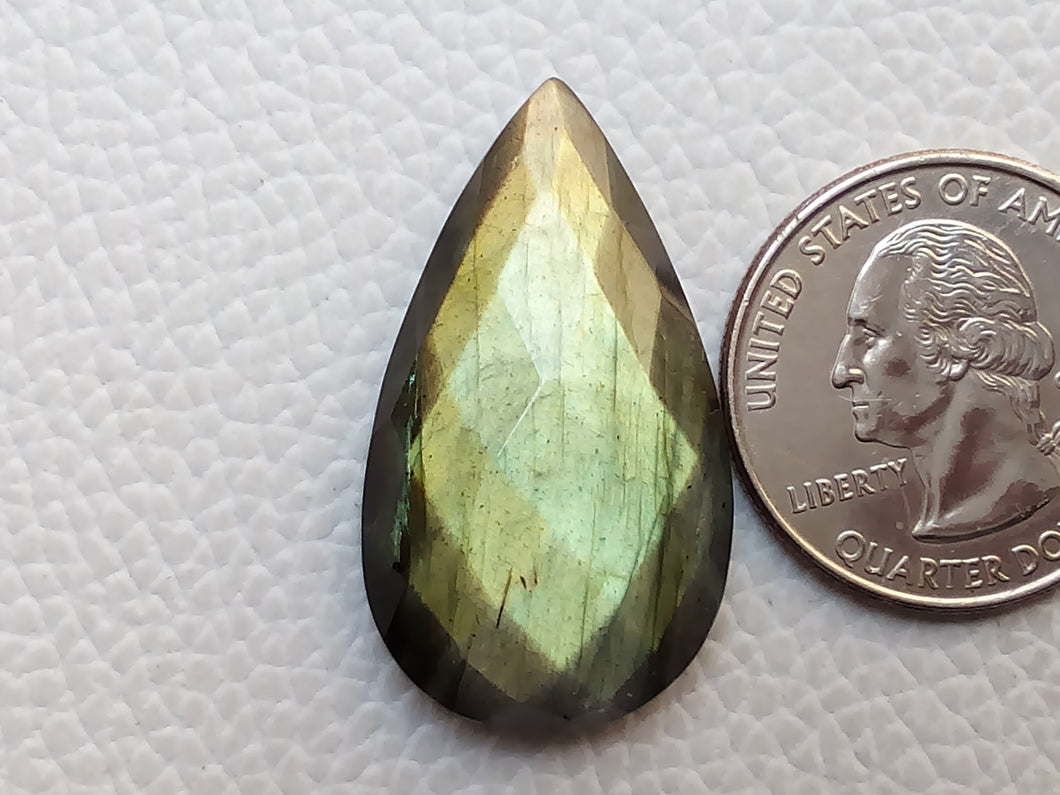 33x19x7mm, Natural Gemstone Labradorite Faceted Gemstone Cabochon teardrop Shape