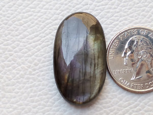 33x19x7mm,  Dark Labradorite Gemstone Cabochon Oval Shape
