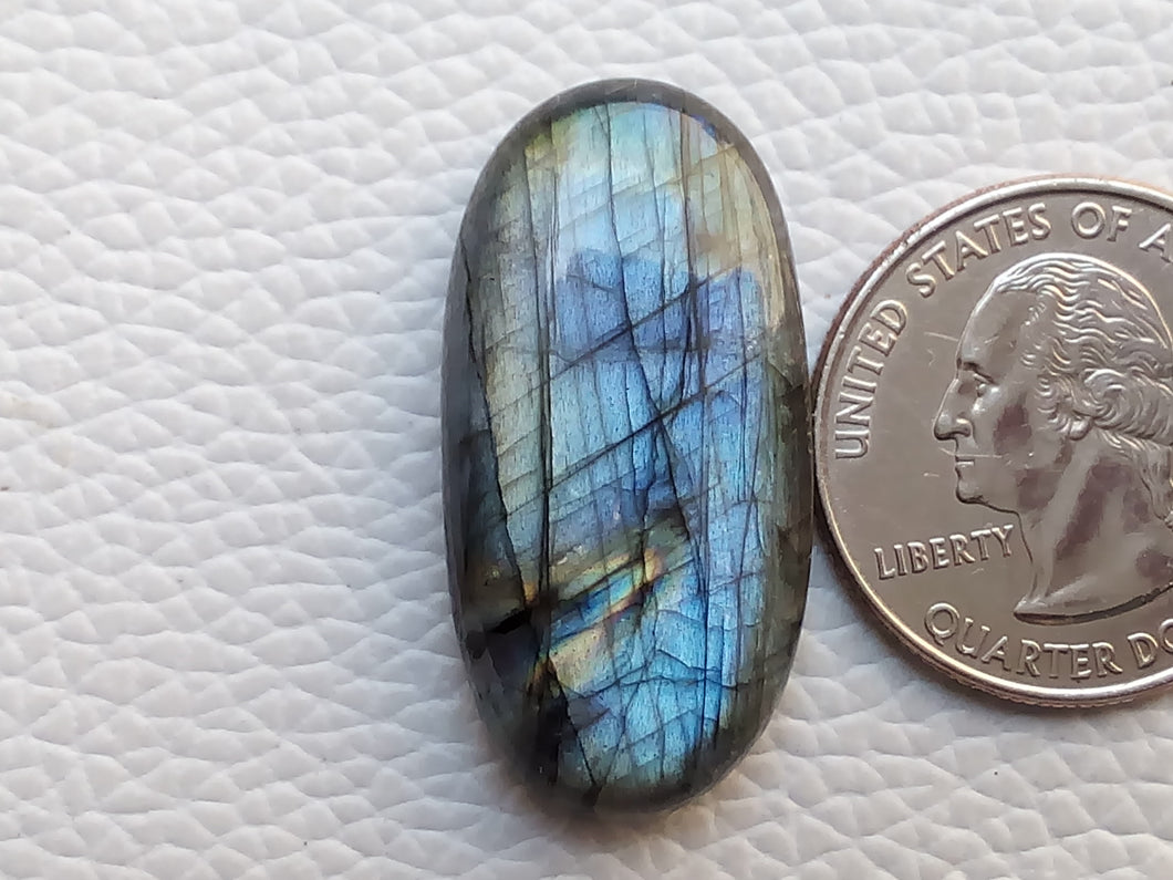 33x16x8mm, Stripped Labradorite Gemstone Cabochon  Oval Shape