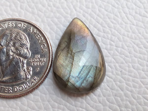 23x16x5mm, Rainbow Purple Labradorite Gemstone Cabochon  Teardrop Shape