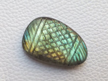 Load image into Gallery viewer, 32x21x8mm, Greenish Curved Stone Labradorite Pendant Gemstone Freeform Shape