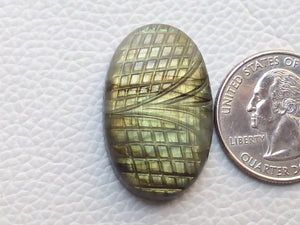 31x20x7mm, Nice Curved Labradorite Carving Gemstone Oval Shape