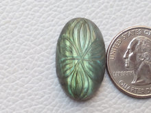 Load image into Gallery viewer, 27x17x8mm, Blue Curved Labradorite Carving Cabochon Oval Shape