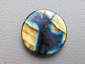 Twin shaded  Labradorite Cabochon Gemstone 30x30x7mm, Round Shape