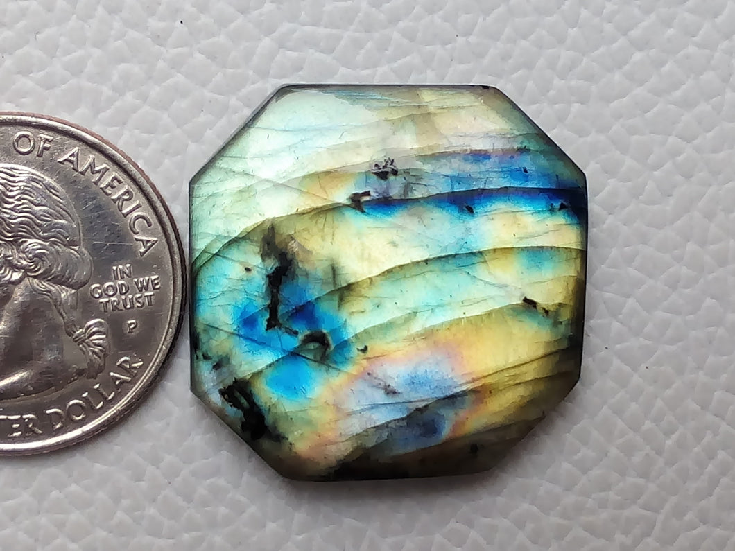 2 Shaded  Labradorite Cabochon Gemstone 29x28x7mm, Freeform Shape